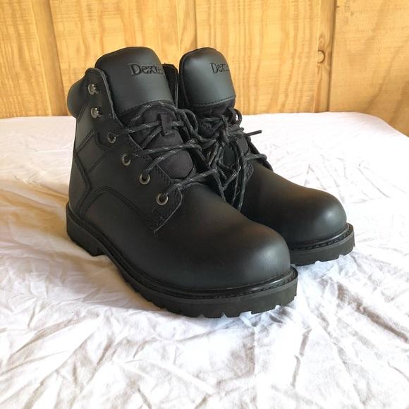 Dexter Mens Steel Toe Boots Black Size